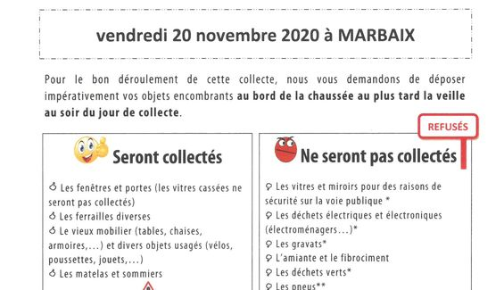 Passage des encombrants 2020